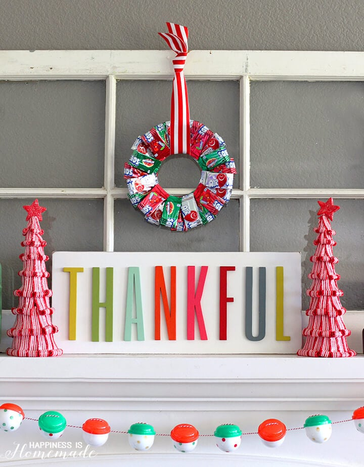 Colorful Christmas Candy Mantel with Airheads Wreath