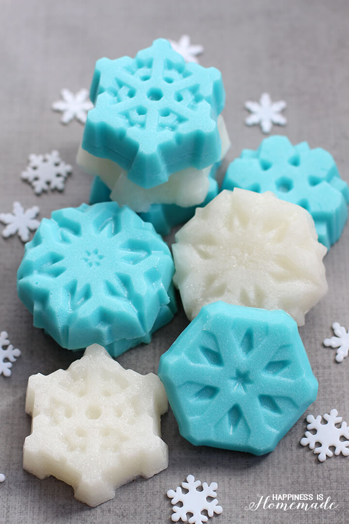 Shimmery and Glittery Frozen Snowflake Sugar Scrub Bars