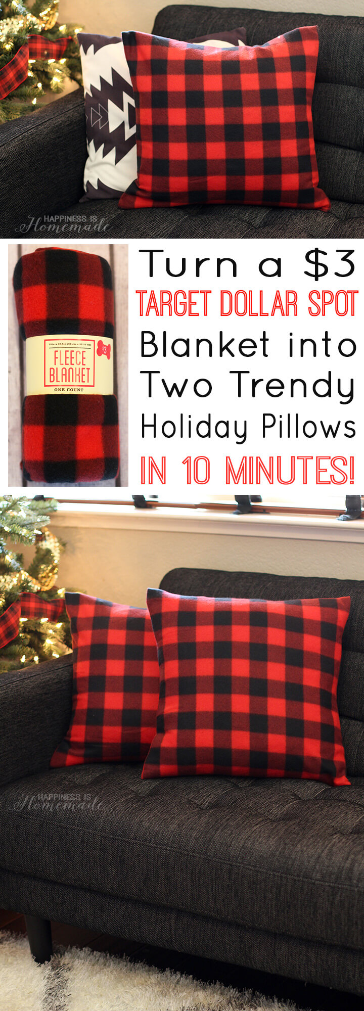 Turn a Three Dollar Target Blanket into Festive Holiday Pillows