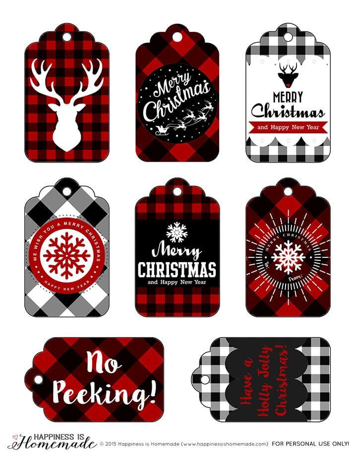 These free printable buffalo check plaid gift tags are perfect for the Christmas holiday season! via Happiness is Homemade