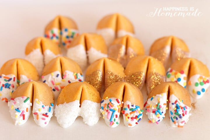 Chocolate Dipped Sprinkle and Glitter Fortune Cookies for New Years Eve
