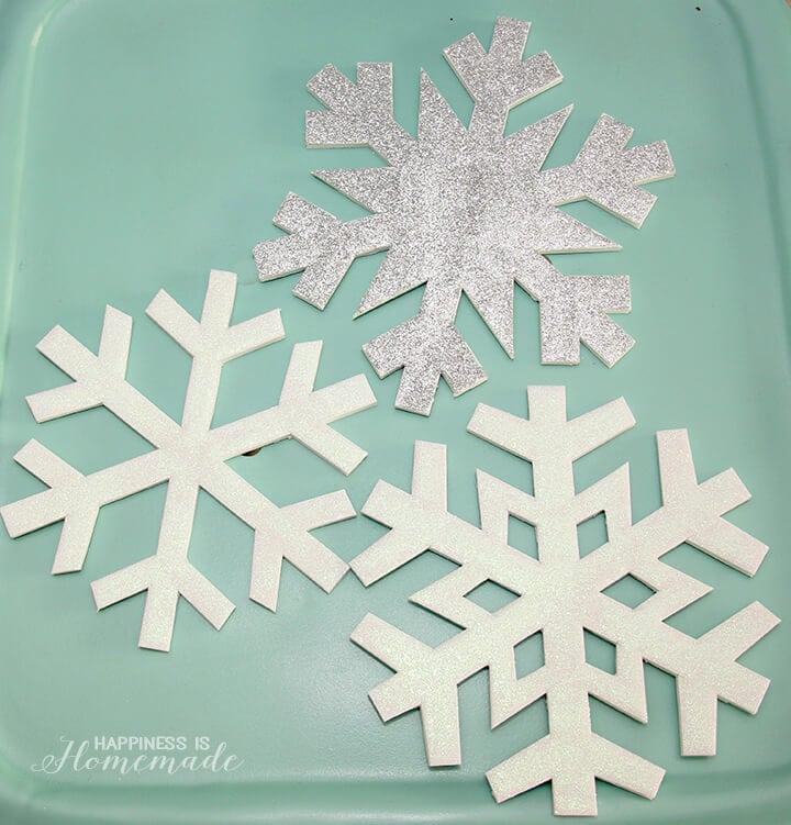 Glittery Foam Core Snowflakes Winter Holiday Decor