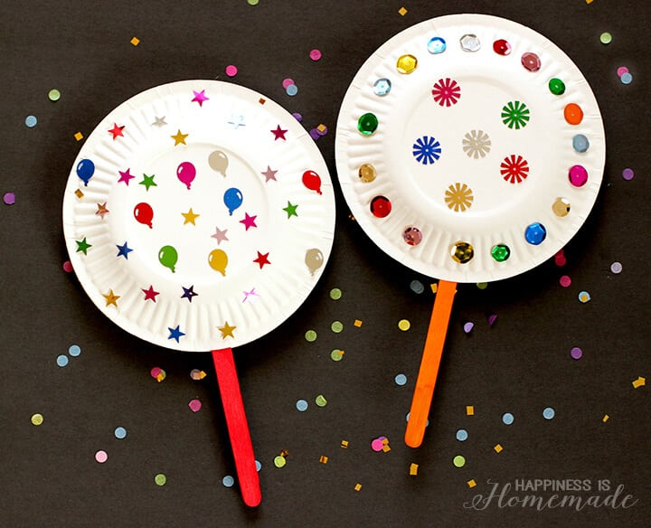 Paper Plate Shaker Noisemakers for New Years Eve - Kids Craft