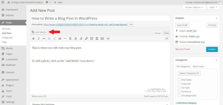 WP Blog Post Screen