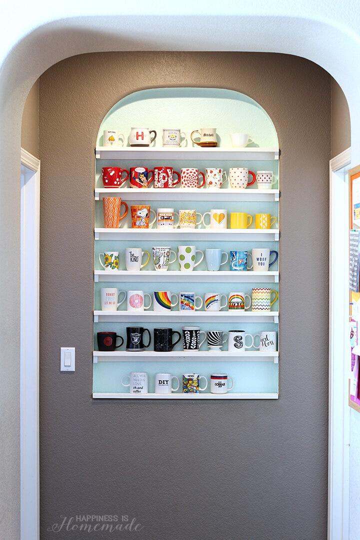 DIY Mug Shelf in Arched Alcove