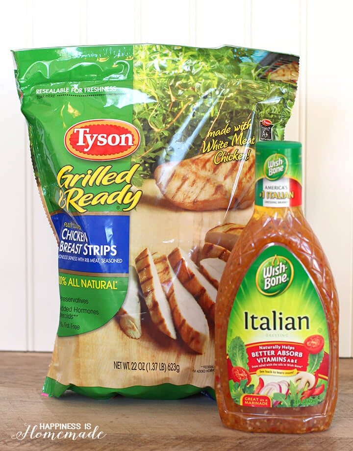 Quick and Easy Salad Starters - Tyson Grilled & Ready Chicken Strips and Wishbone Italian Dressing