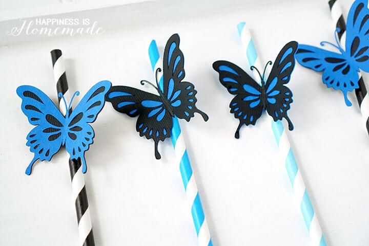 Blue Butterfly Straws