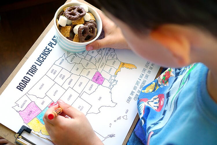 S'mores Flipz Road Trip Snack Mix and State License Plate Coloring Map Game