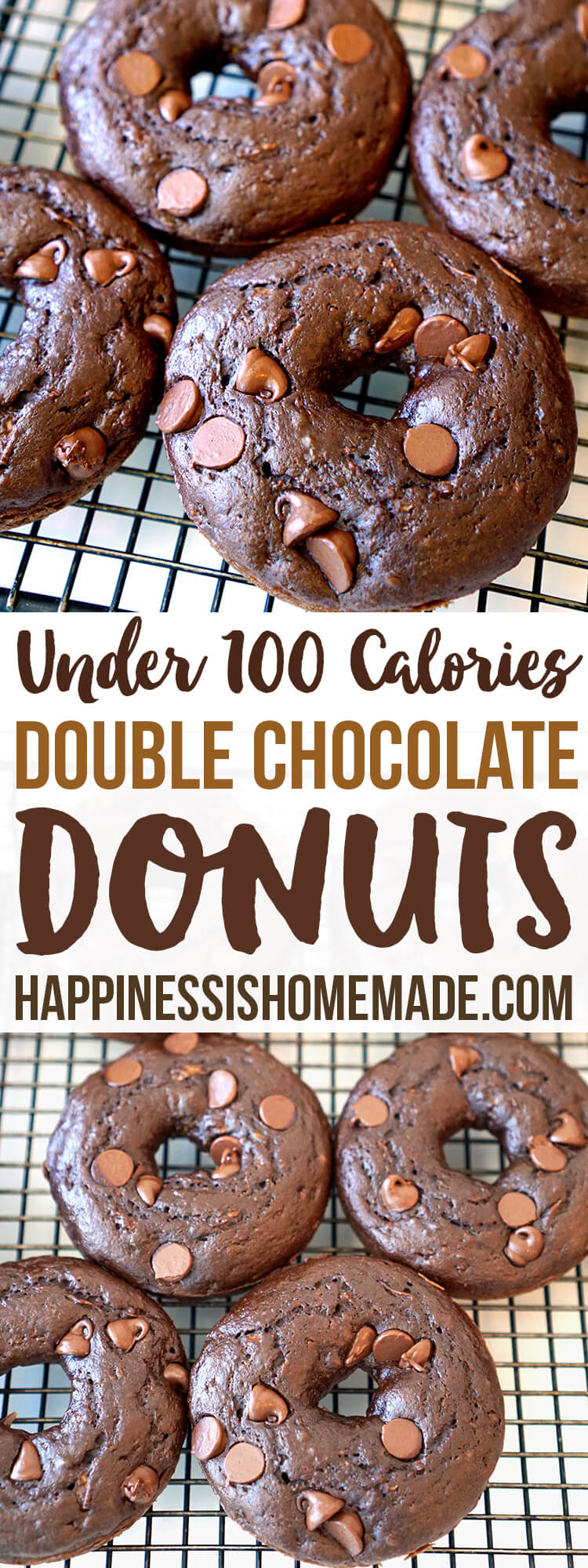 Under 100 Calories - Healthy Double Chocolate Zucchini Cake Donuts - These better-for-you double chocolate donuts are under 100 calories each! A moist and rich chocolaty indulgence that won't blow your diet!