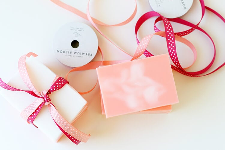 Wrapping Homemade Peach Soap for Gift Giving