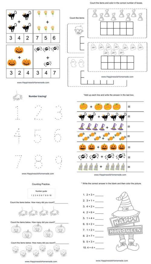 small resolution of Kindergarten Halloween Math Pack - Happiness is Homemade