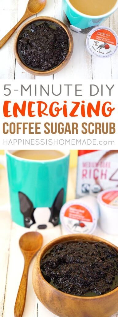 Make your own DIY Energizing Coffee Sugar Scrub in just five minutes, and treat yourself to an invigorating and rejuvenating morning shower! Your silky smooth skin will thank you!