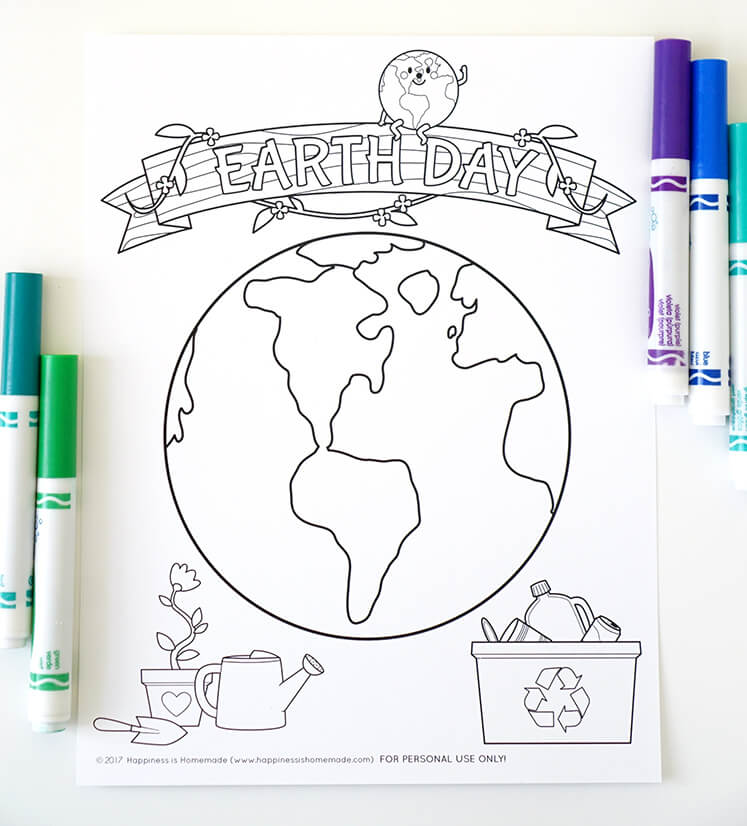 Earth Day Coloring Page - Happiness Is Homemade