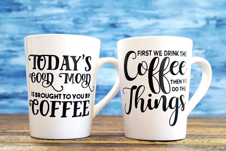 DIY Funny Coffee Mugs + Free SVG Cut Files - Happiness is Homemade