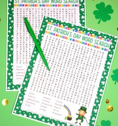 St. Patrick's Day Word Search Printable - Happiness is Homemade [ 2077 x 1500 Pixel ]