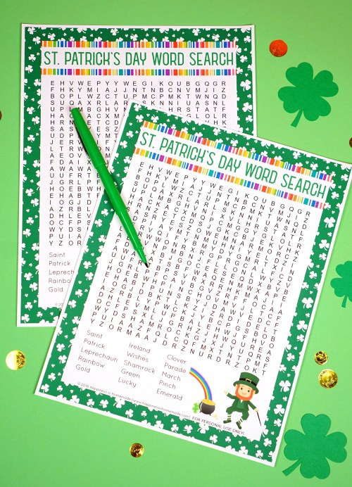 small resolution of St. Patrick's Day Word Search Printable - Happiness is Homemade