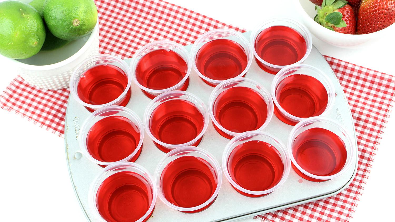 strawberry margarita jello shots in a tray