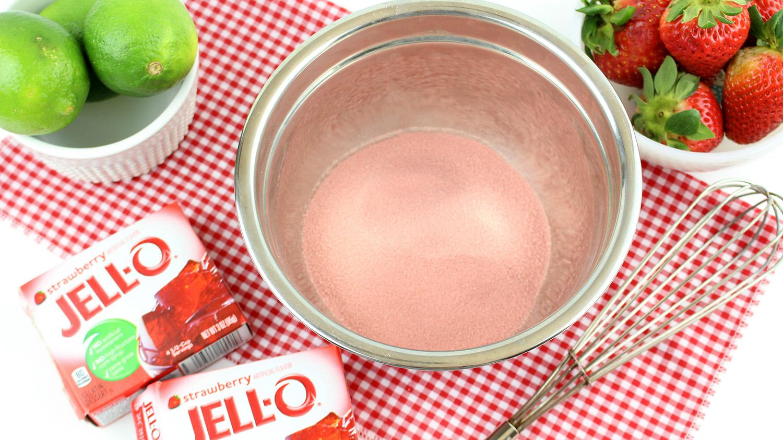 strawberry jello powder in a bowl