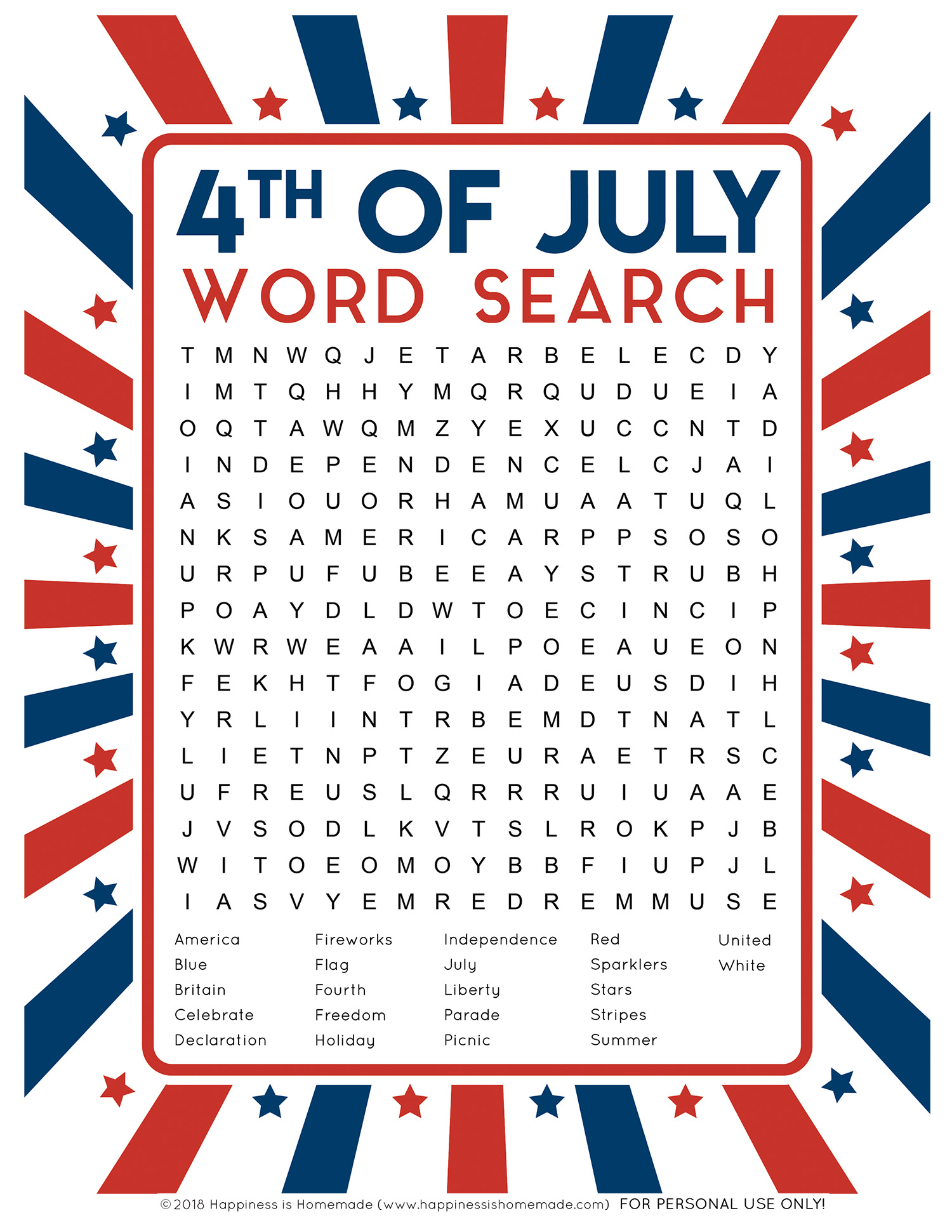 4th Of July Word Search Printable
