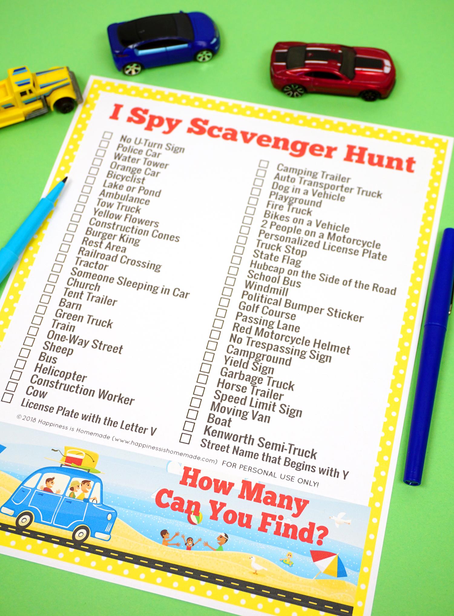 Road Trip Games I Spy Scavenger Hunt