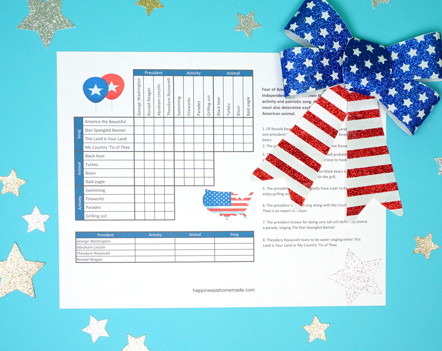 4th Of July Printable Sudoku Puzzles Logic Puzzle