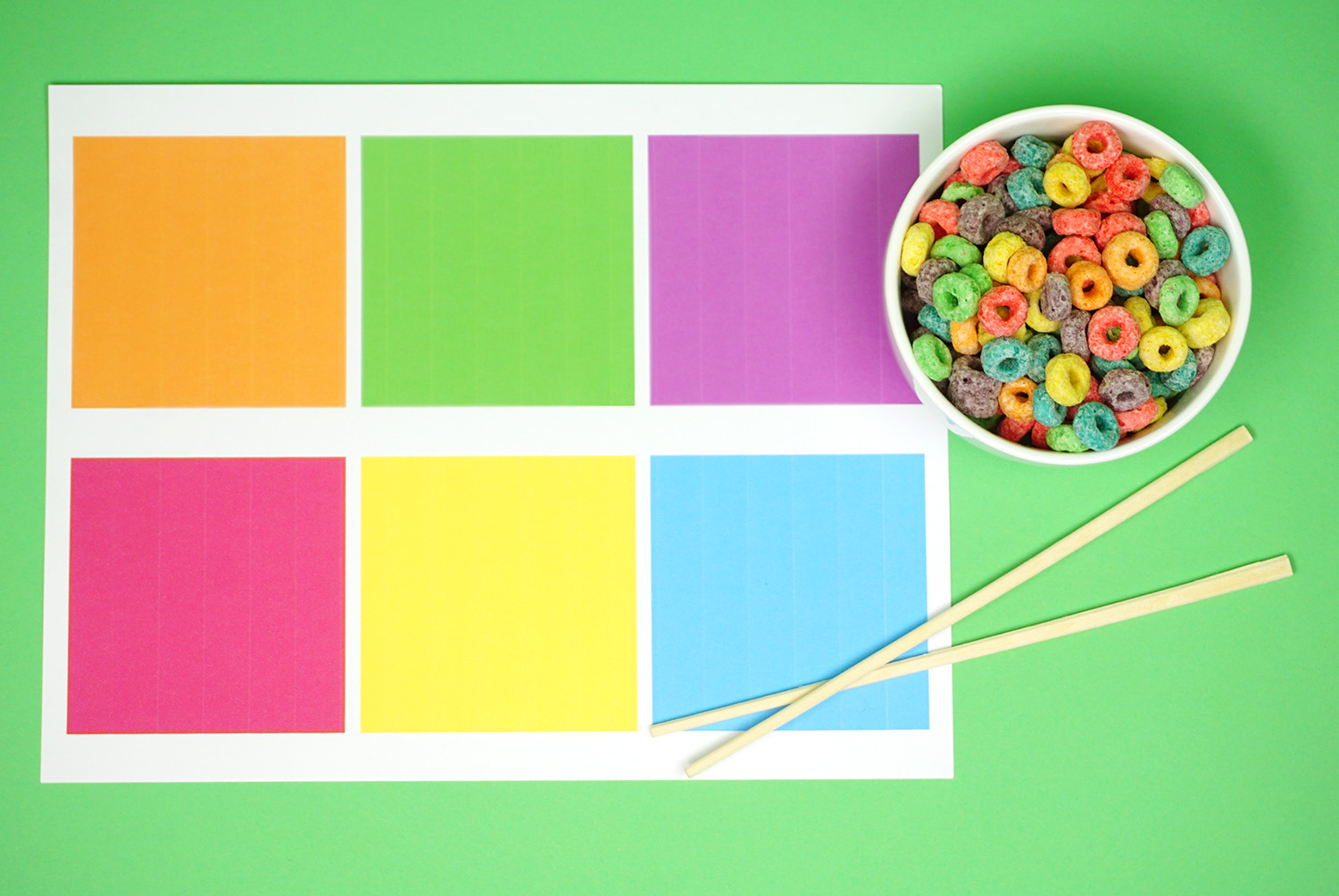 Froot Loops and Color Sorting Mat with Chopsticks