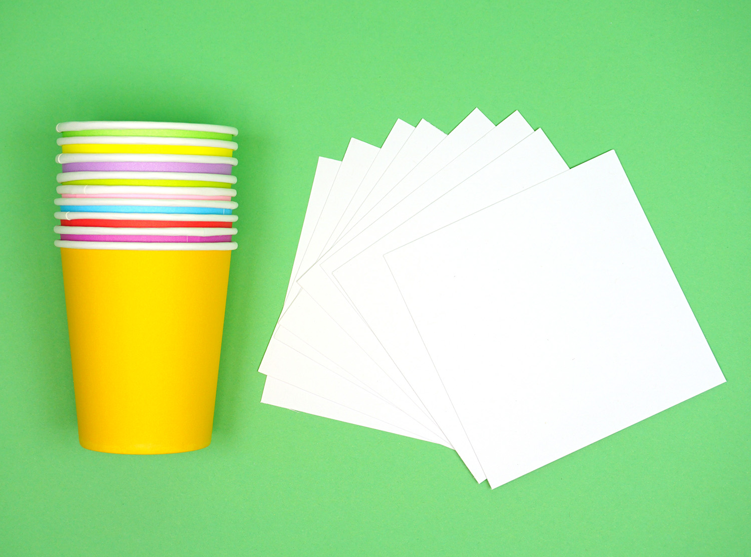 Colorful paper cups and paper - Minute to Win It Party Game supplies