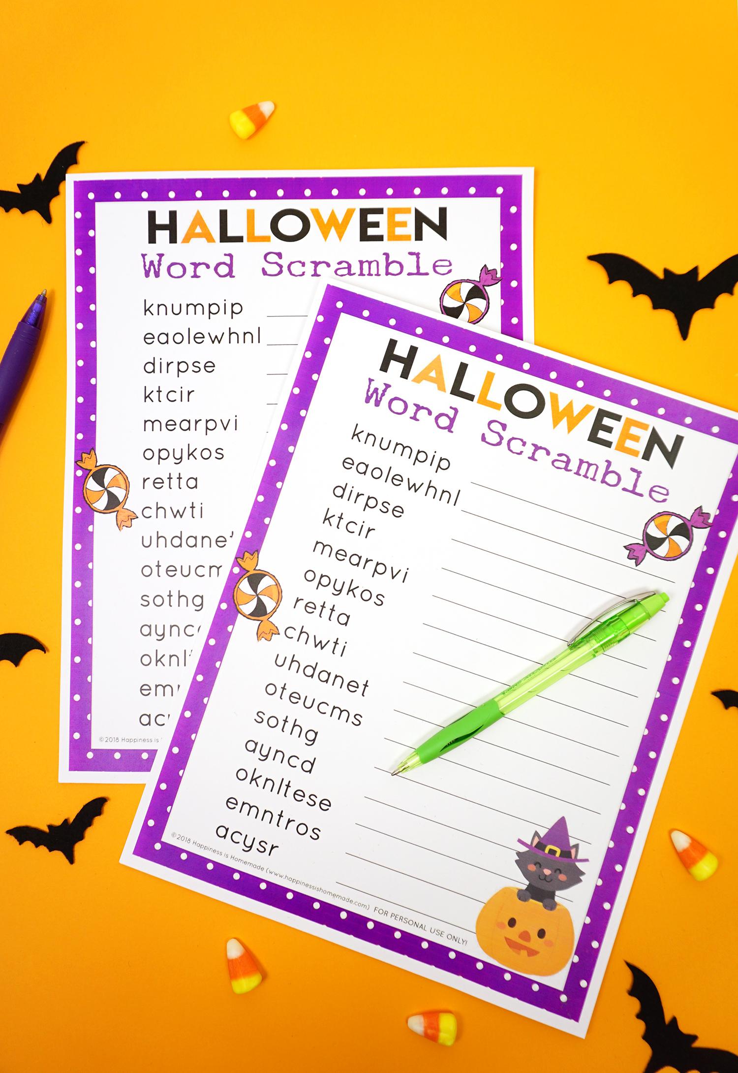 Halloween Word Scramble