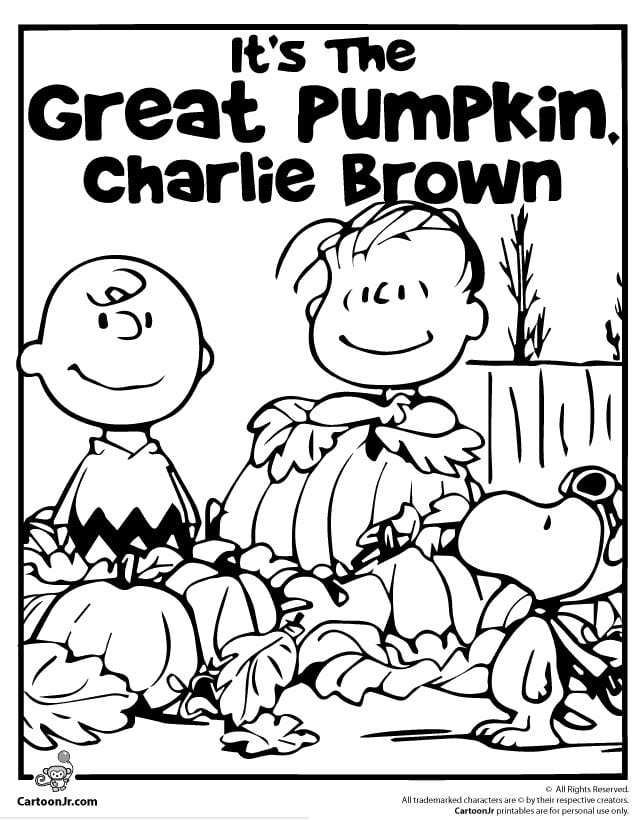 It's the Great Pumpkin Charlie Brown Halloween Coloring Page