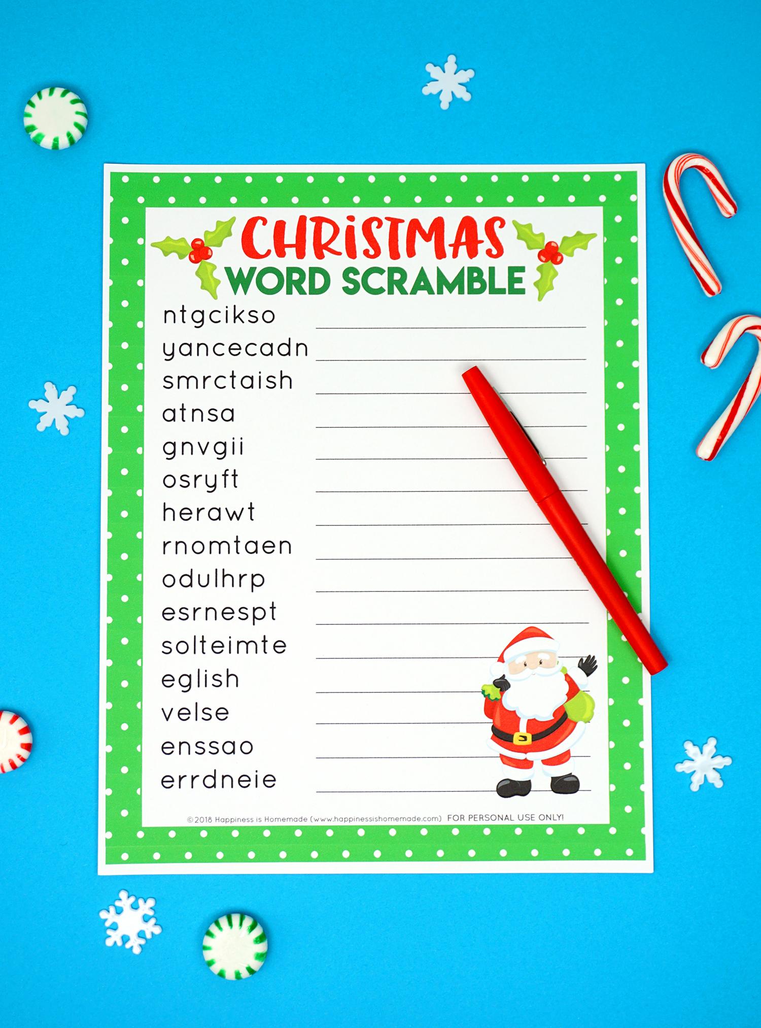 Best Holiday Word Scramble Printable