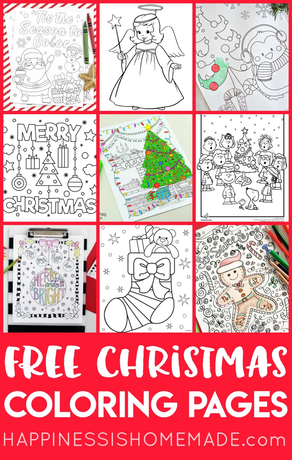 medium resolution of FREE Christmas Coloring Pages for Adults and Kids - Happiness is Homemade