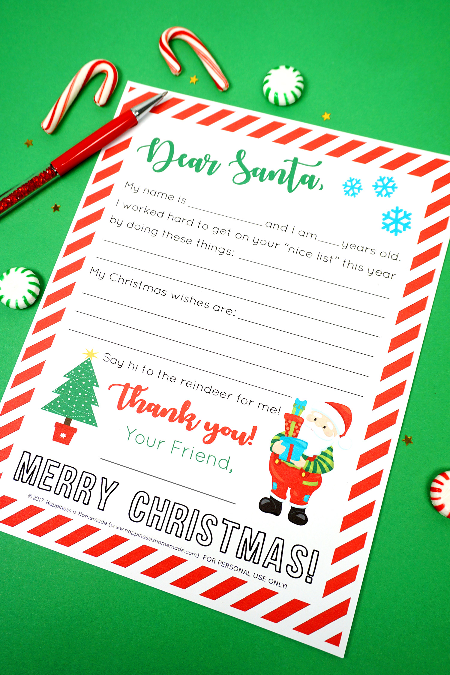 Free Printable Letter to Santa - Happiness is Homemade