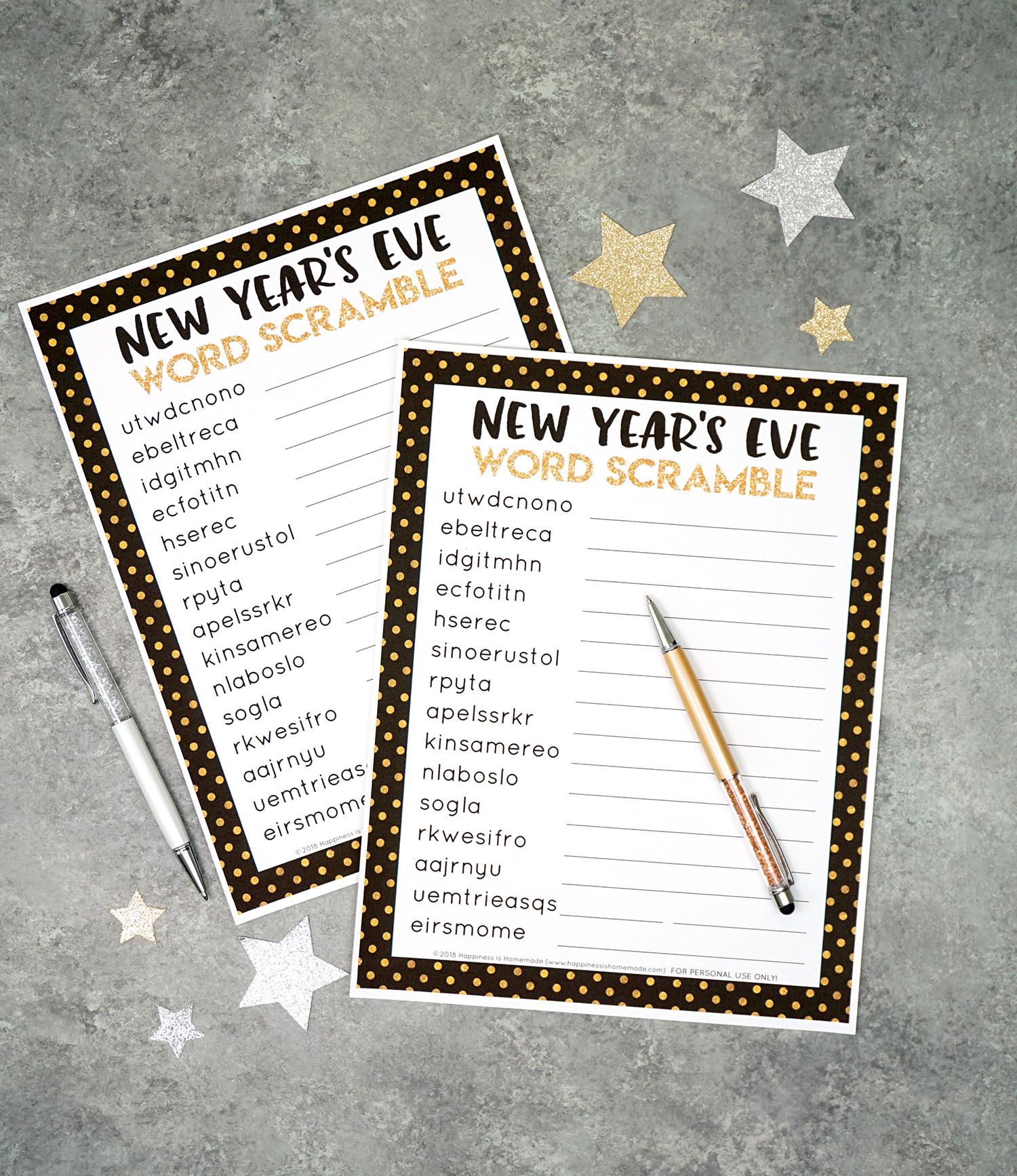 New Year S Eve Word Scramble Printable