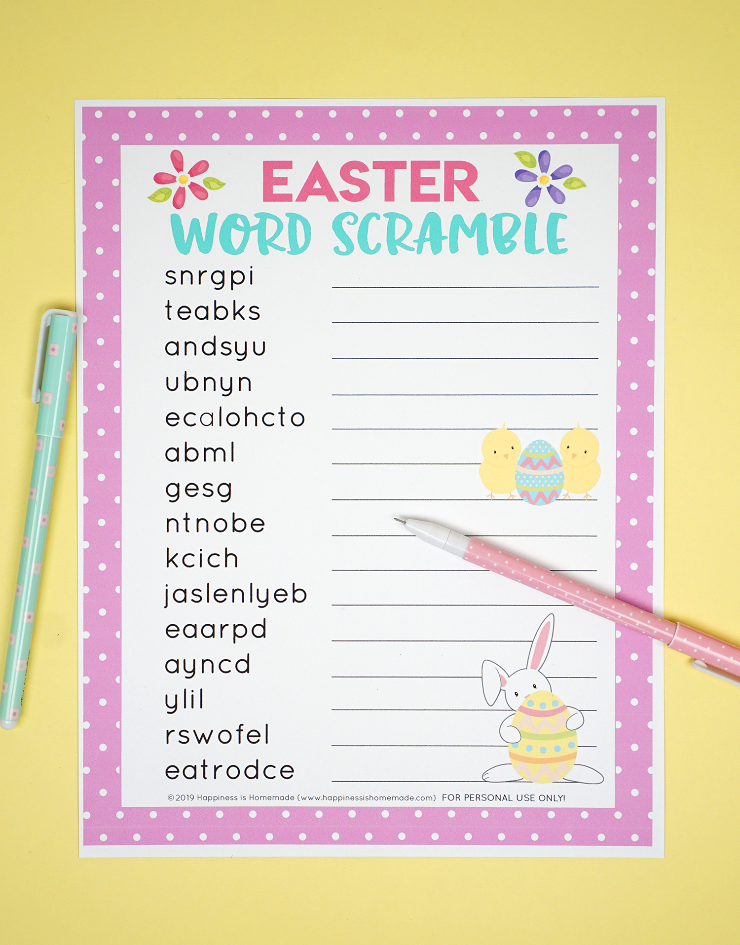 Easter Word Scramble Printable