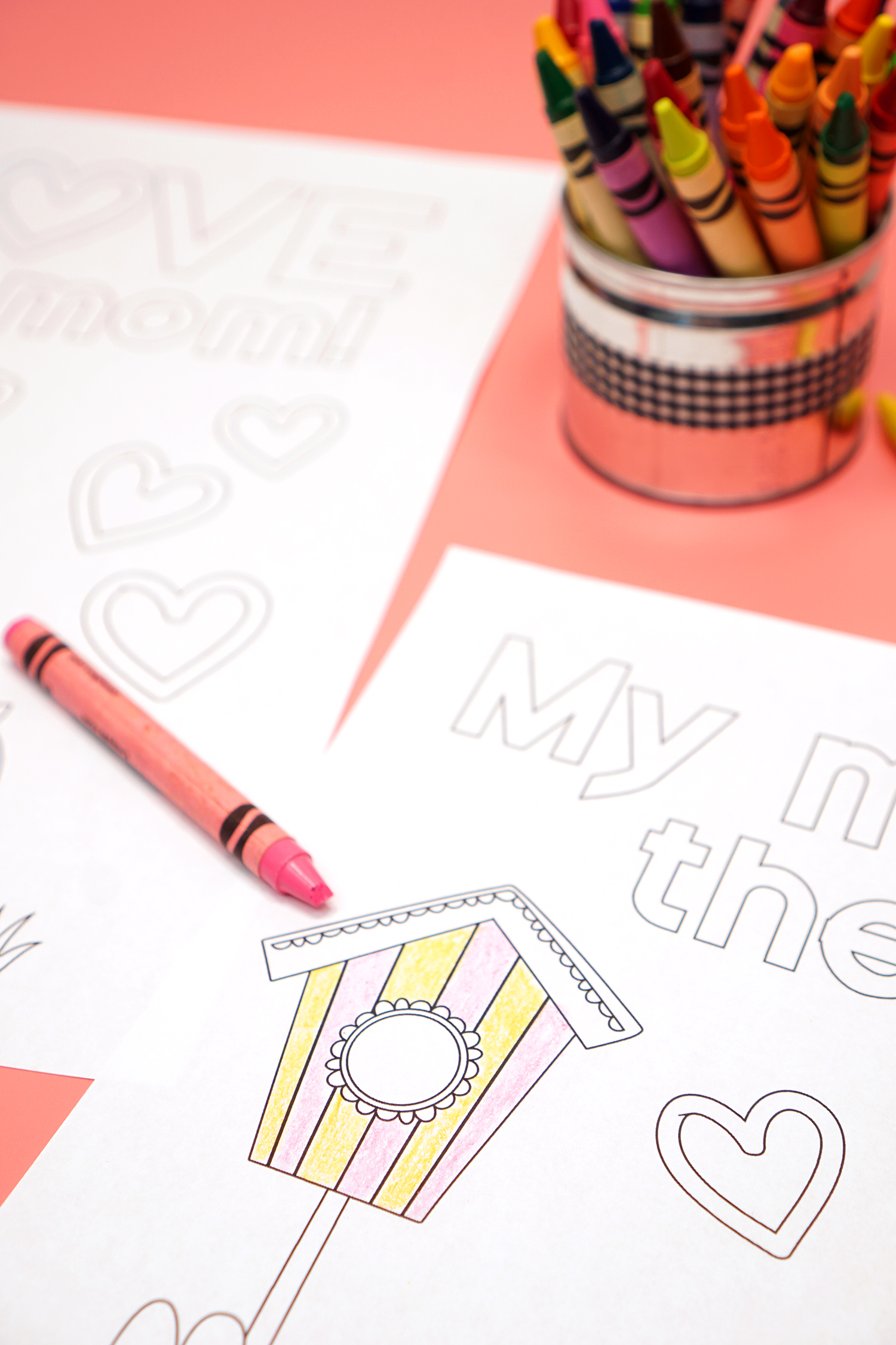 Birdhouse Mother's Day Coloring Page with Crayons