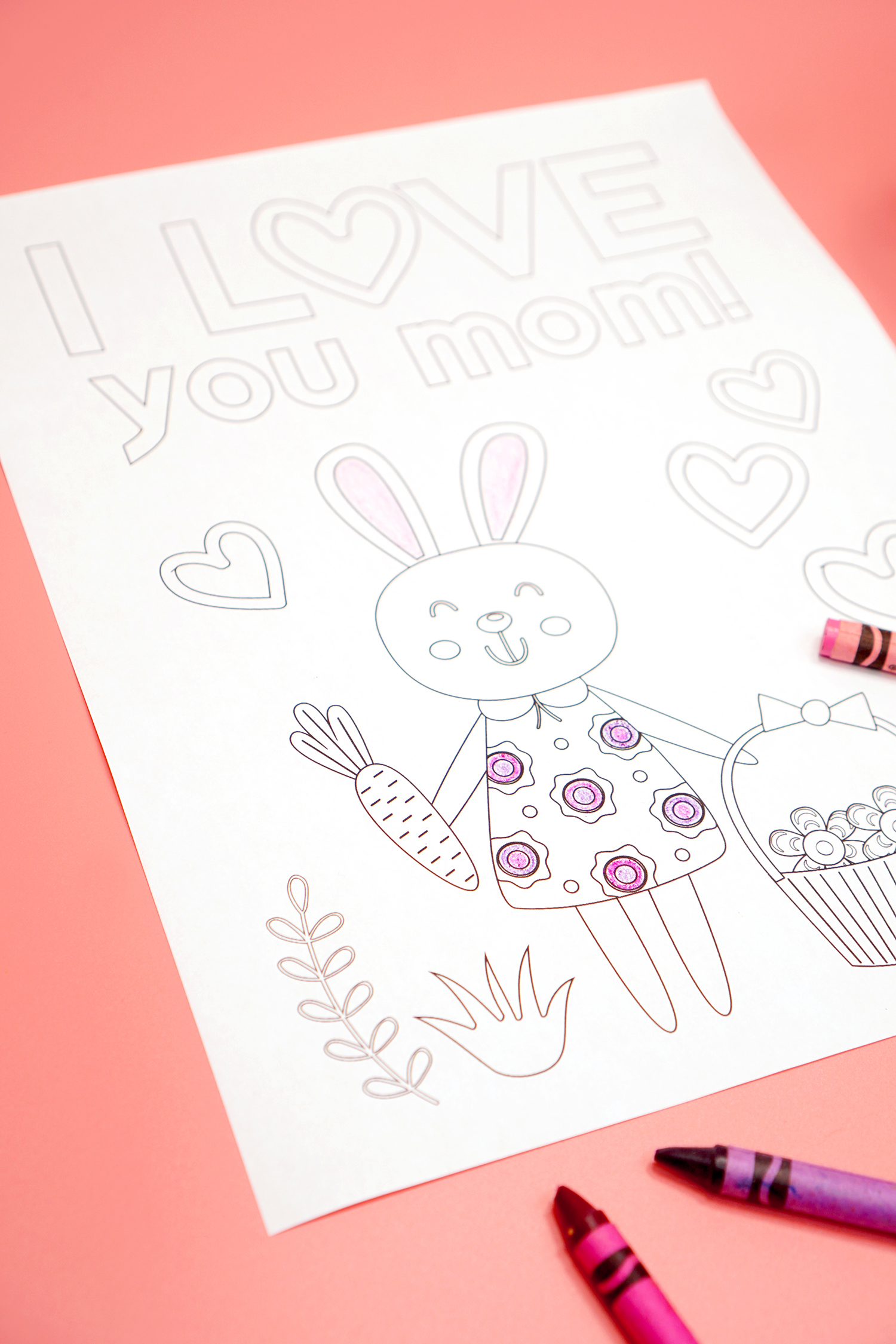 Cute Mother's Day Coloring Page with Bunny