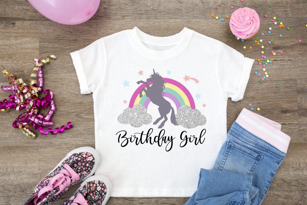 """unicorn and rainbow """"birthday girl"""" shirt"""