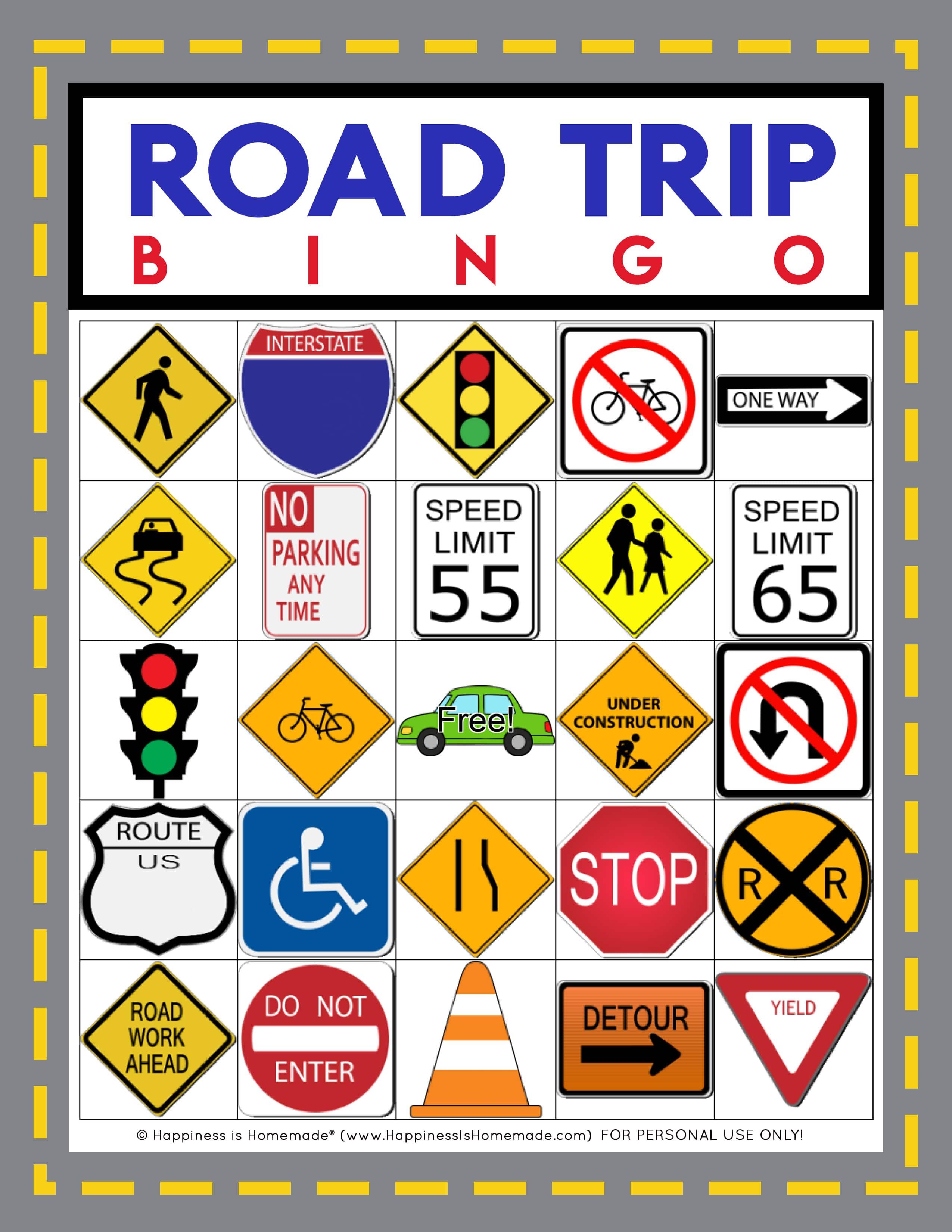 road trip bingo game