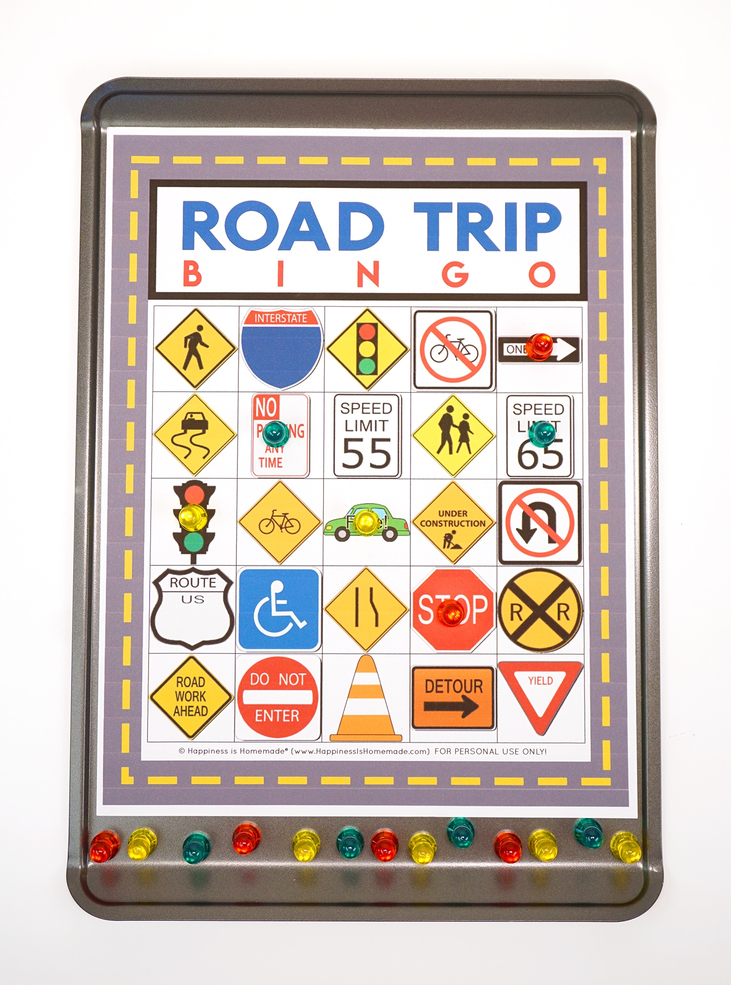 Road Trip Bingo Game and Magnets on a Magnetic Board