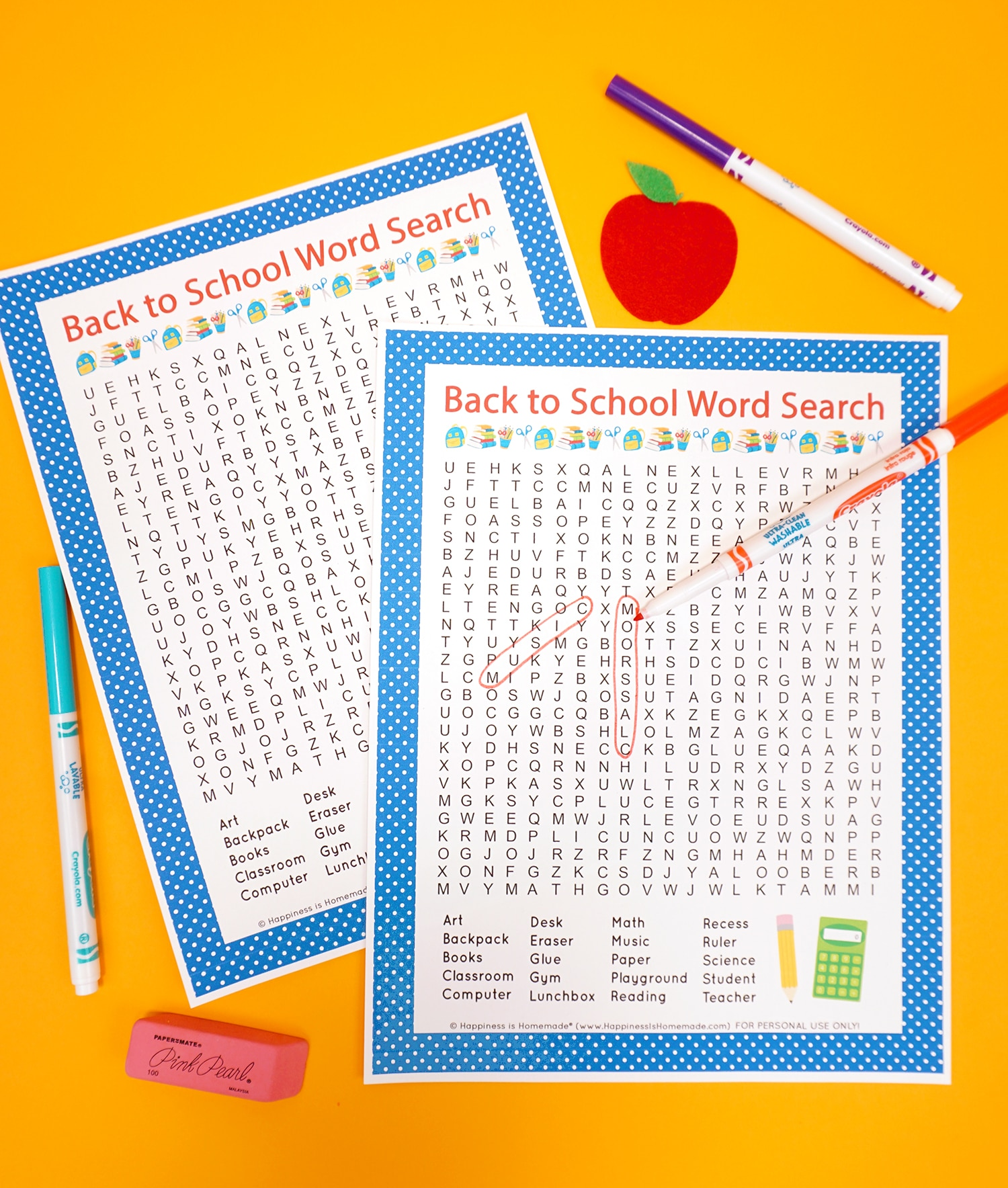 Free Back to School Word Search Printable