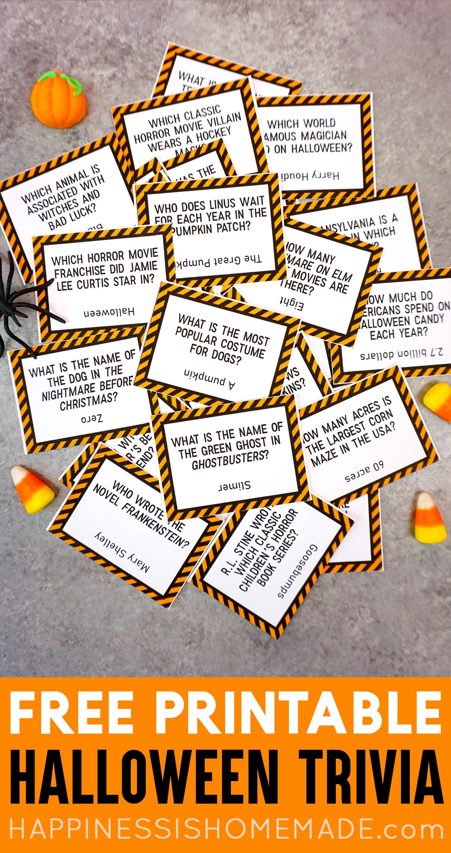Printable Halloween Trivia Game