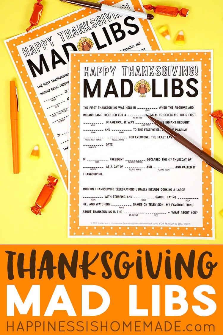 Thanksgiving Mad Libs