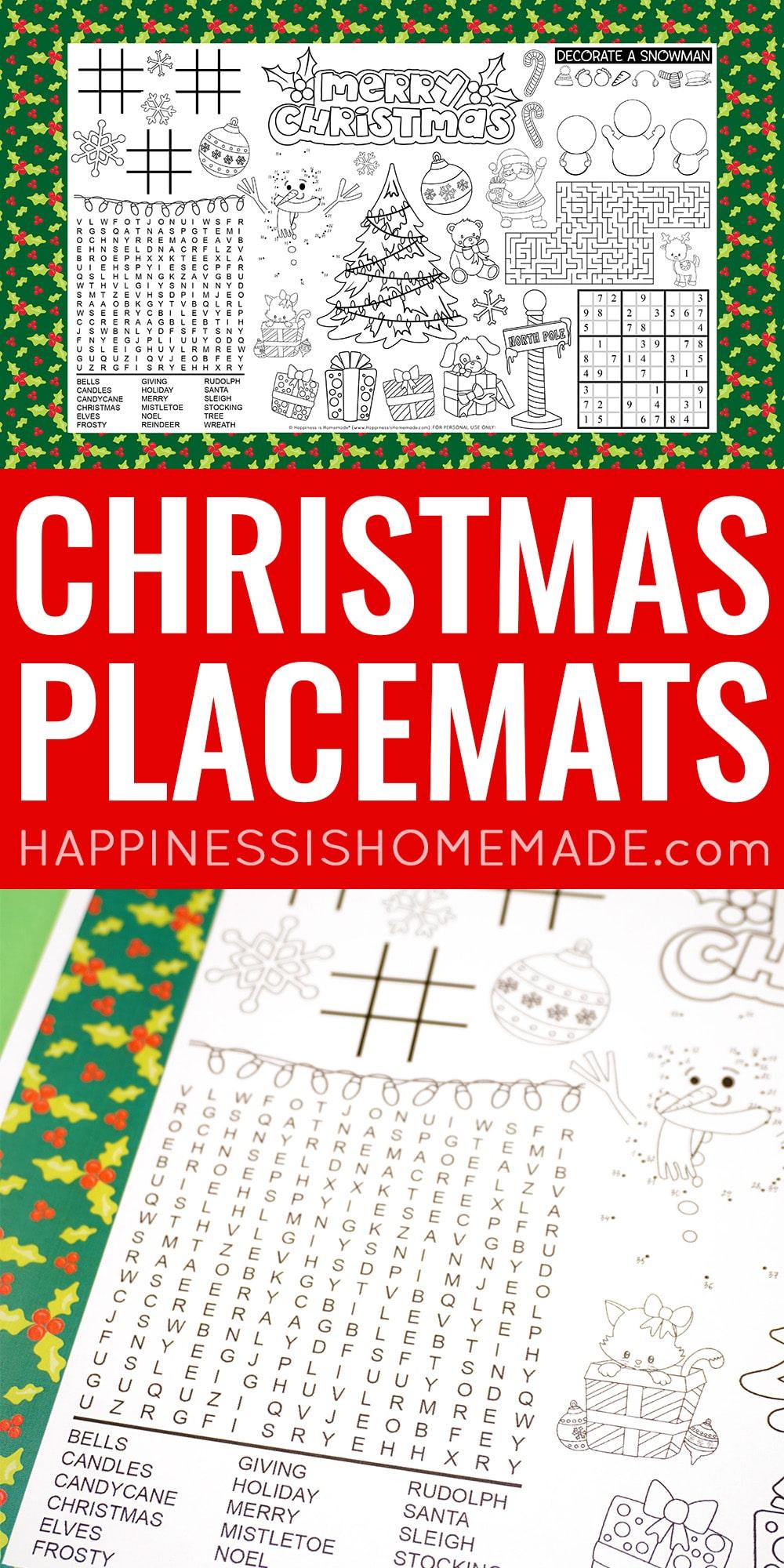 Printable Christmas Placemats for Kids