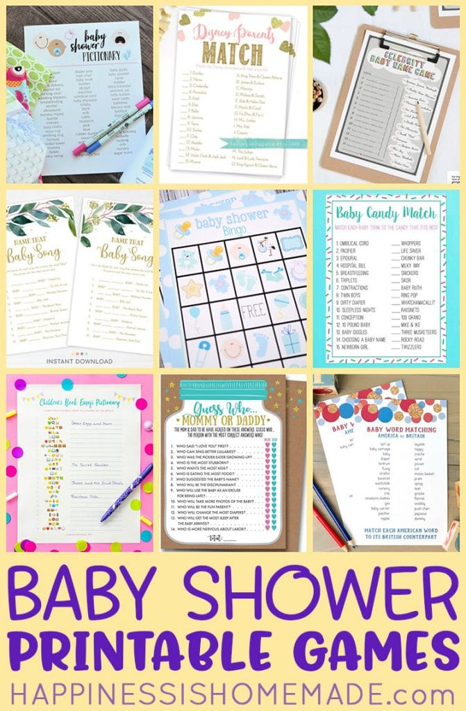 Baby Name Matching With Father And Mother : matching, father, mother, Printable, Shower, Games, Happiness, Homemade