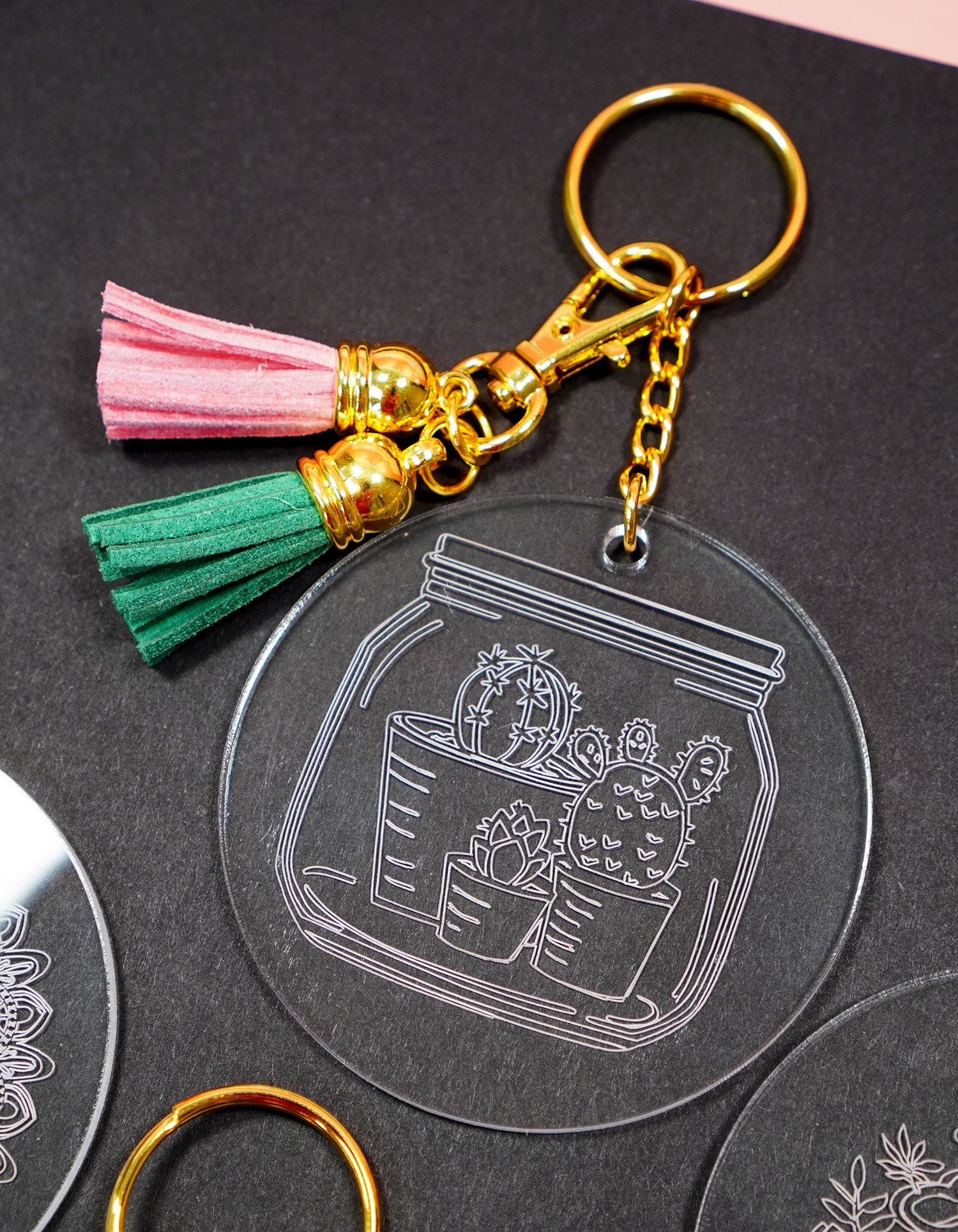 Cactus engraved acrylic keychain made with Cricut Maker Engraving Tool