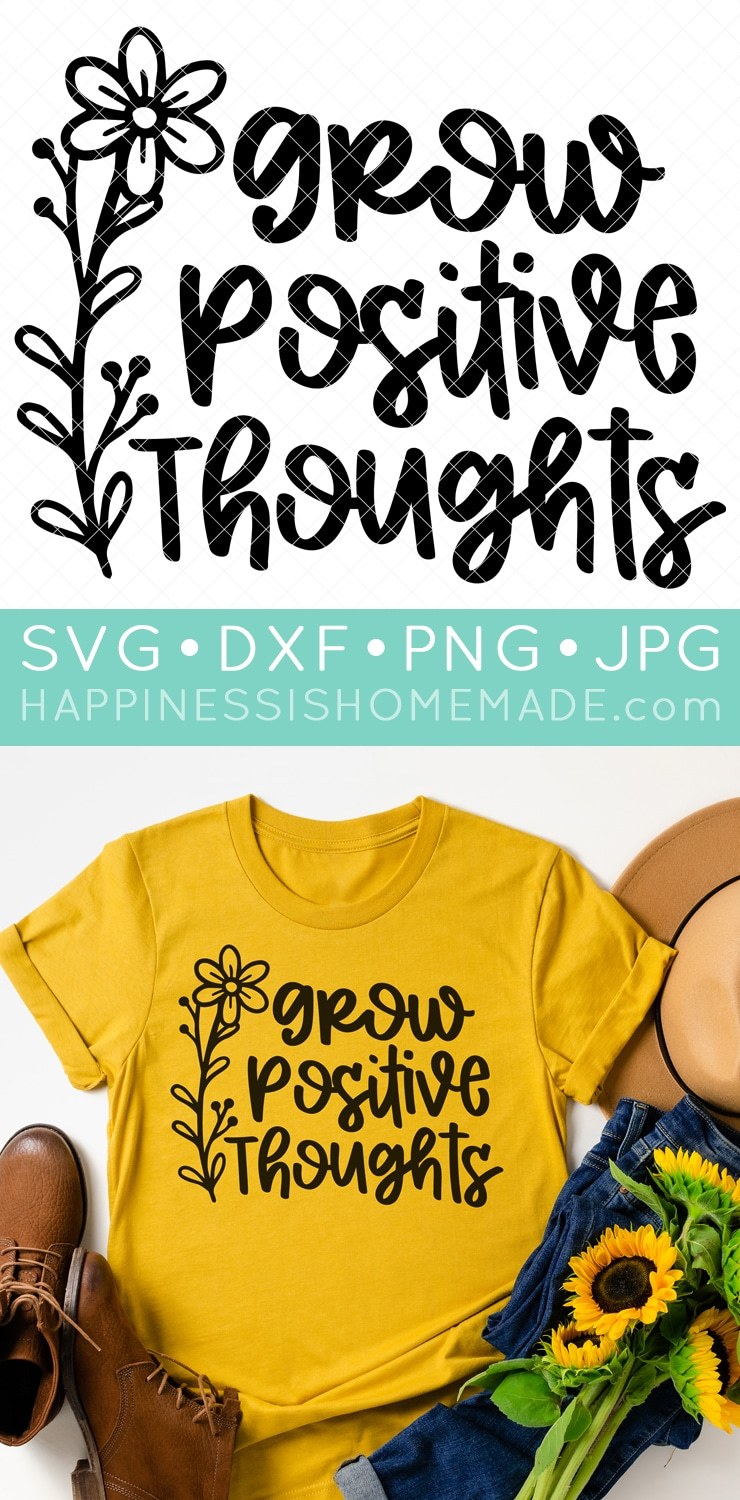 """Yellow t-shirt with """"Grow Positive Thoughts"""" text image and flower image."""