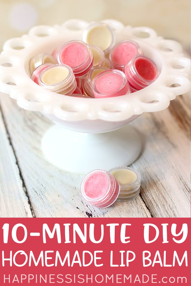 10-Minute DIY Lip Balm Recipe - pink and natural colored lip balm containers in a white vintage bowl