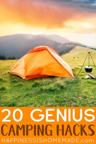 """""""20 Genius Camping Hacks"""" text with image of orange tent in grassy field"""