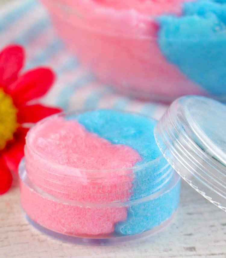 Small jar of half pink and half blue cotton candy lip scrub