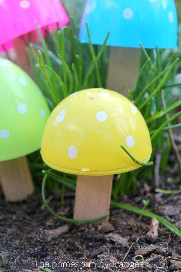 Fairy garden mushrooms made with plastic Easter eggs